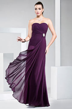 Simple Sweetheart Ruched Beading Chffion Purple Prom Dress UK