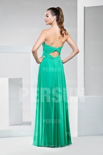 Dressesmall Chic Green Beading Ruffles Chiffon Floor Length Formal Dress
