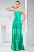 Chic Green Beading Ruffles Chiffon Long Bridesmaid Dress