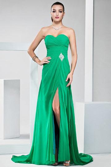 Dressesmall Sexy Strapless Side Slit Green Ruffles Floor Length Formal Dress