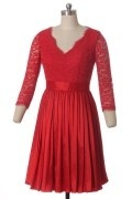 Rot knielang A-Linie V-Ausschnitt  Spitze Cocktailkleider Abendkleider mit Ärmel