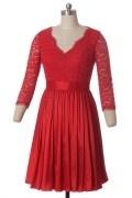 Schön rot V-Ausschnitt knielang A-Linie Abendkleid aus Spitze