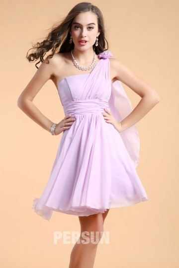 Simple Chiffon One Shoulder Short Flowers Bridesmaid Dress