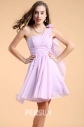 Elegant Chiffon Purple One Shoulder A Line Short Formal Bridesmaid Dress