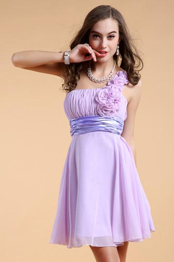 Simple One Shoulder Flowers Empire Chiffon Bridesmaid Dress
