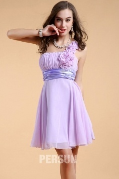 Simple Purple One Shoulder Flowers Empire Chiffon Bridesmaid Dresses