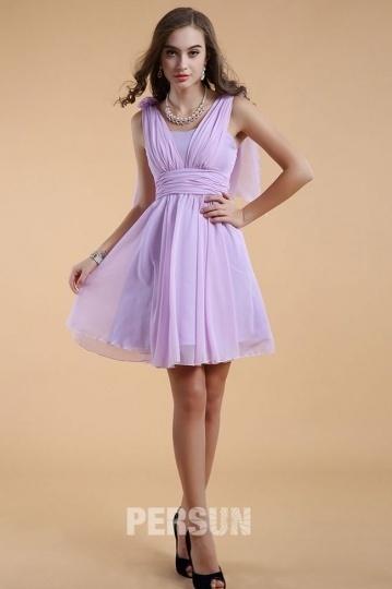 Dressesmall Chic Straps Chiffon Purple Short Formal Bridesmaid Dress