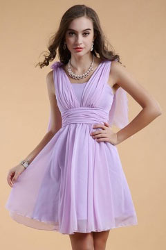 Chic Straps Chiffon Purple Short Formal Bridesmaid Dress