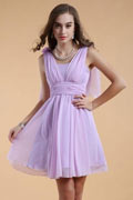 Simple Straps Chiffon Ruching Short Bridesmaid Dress