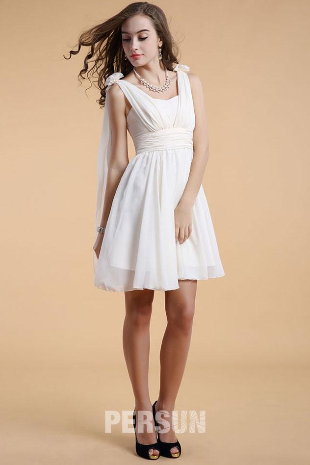 Robe courte aux genoux avec bretelles pour mariage d'été