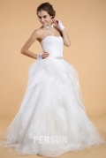 Simple Sweetheart Backless Organza Princess Bridal Gown