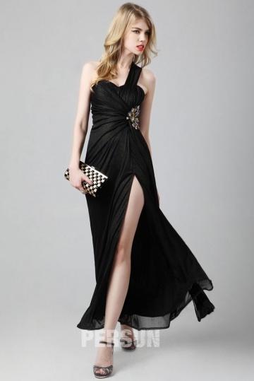 Dressesmall One shoulder Split front Black Formal dress