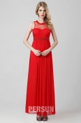 Simpeles rotes Abendkleid mit transparentem Ausschnitt