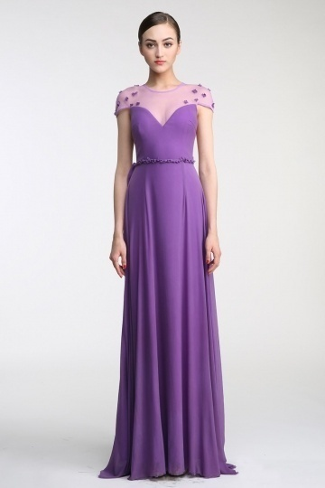 Dressesmall Sexy Scoop Flowes Short sleeves Purple Tulle Evening Formal dress