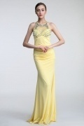 Sexy Floor length Sheath Scoop Beading Jersey Evening Formal Dress Persun