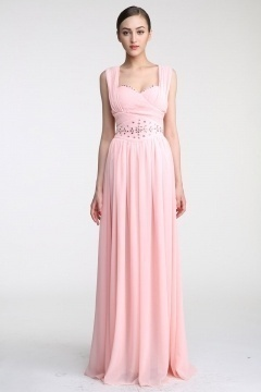 Robe de cérémonie rose empire en mousseline avec mancherons pour mariage