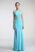 Persun Sheath Scoop Blue lace Jersey Evening Formal Dress with Front slit