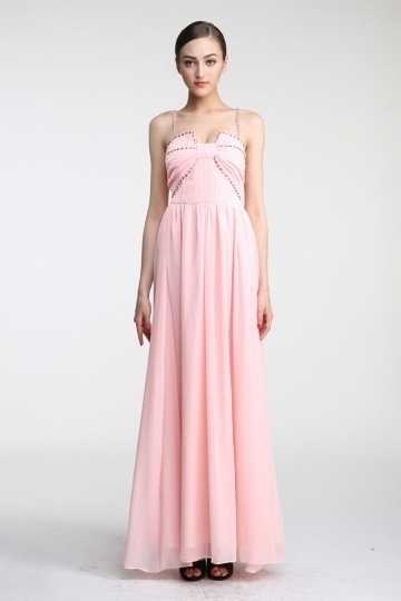 Dressesmall Persun A line Strapless Ruching Beaded Chiffon Evening Dress