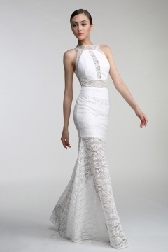 Persun Sheath High Neck White Lace Evening Dress