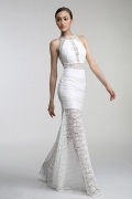Persun Sheath High Neck White Lace Evening Dress