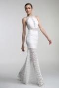 Weiß Stehkragen Etui-Linie Ärmellos Spitze lang Abendkleider