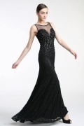 Persun Sheath Bateau Black Chiffon Evening Formal Dress