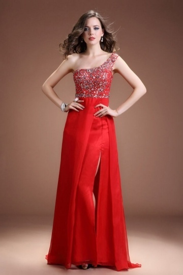 Dressesmall Sexy One Shoulder Tencel A Line Red Beading Long Evening Dress