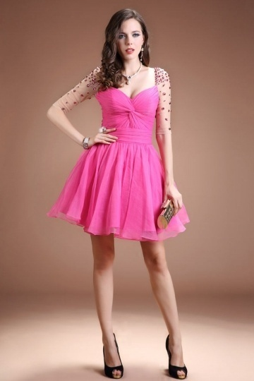 Dressesmall Sexy Fuchsia Sweetheart Organza Beading Knee Length Evening Dress