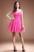 Sexy Fuchsia Sweetheart Organza Beading Knee Length Evening Dress