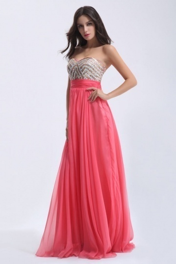 Dressesmall Chic Pink Sweetheart Long Tencel Strapless Beading Formal Dress
