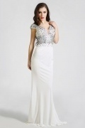 Modern Sheath Jersey V Neck Court Train White Evening Dress