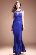 Sexy Blue Scoop Mermaid Long Beading Lace Evening Dress