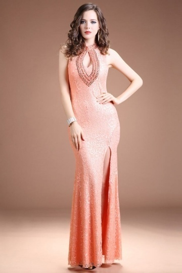 Dressesmall Modern Mermaid Orange Lace High Neck Long Beading Evening Dress
