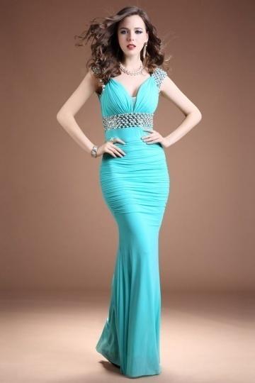 Dressesmall Elegant Mermaid V Neck Chiffon Long Beading Evening Dress