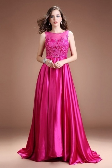 Dressesmall Modern Satin A Line Bateau Fuchsia Beading Long Evening Dress