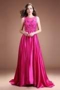 Modern Satin A Line Bateau Fuchsia Beading Long Evening Dress
