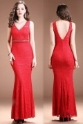Sexy Red Mermaid V Neck Beading Long Evening Dress