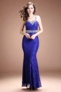 Chic Blue Scoop Mermaid Lace Long Empire Beading Formal Dress