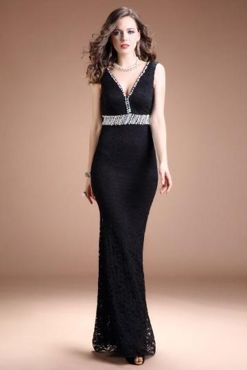 Dressesmall Sexy Black Mermaid Lace V Neck Empire Long Evening Dress