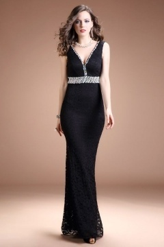 Sexy Black Mermaid Lace V Neck Empire Long Evening Dress