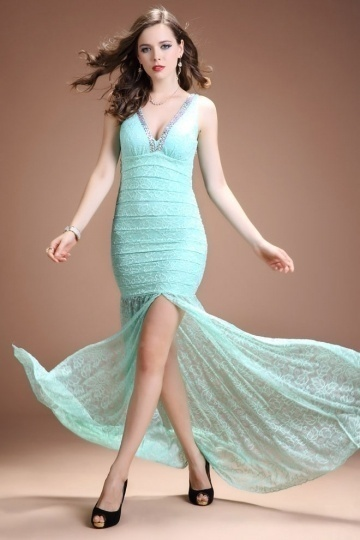 Dressesmall Chic Sheath V Neck Long Empire Lace Evening Dress