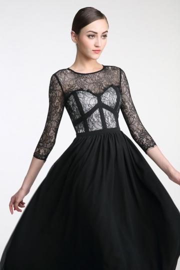 Abendkleid schwarz lang spitze