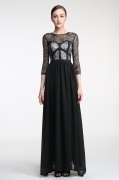 Floor length A line Scoop Black Lace Evening Formal Dress Persun