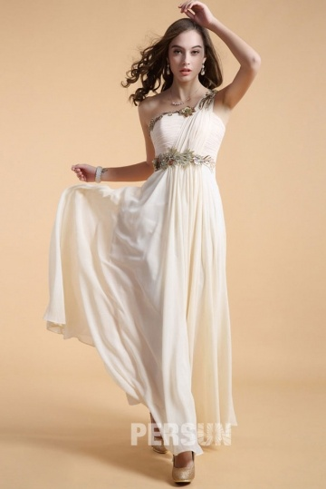 Dressesmall One shoulder Long Formal Dress in Chiffon with appliques waist