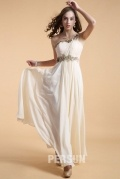 One shoulder Long Formal Dress in Chiffon with appliques waist