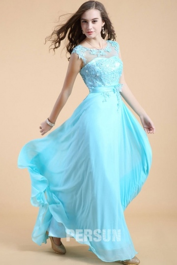 Dressesmall Blue tone Long Formal Dress with appliques bodice