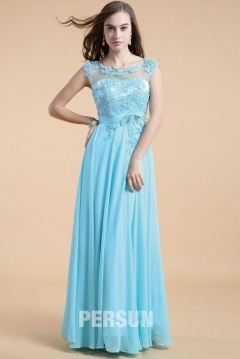 Ware Beautiful Blue Tone Long UK Prom Gown with Appliques Bodice