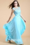 Blue tone Long Formal Dress with appliques bodice