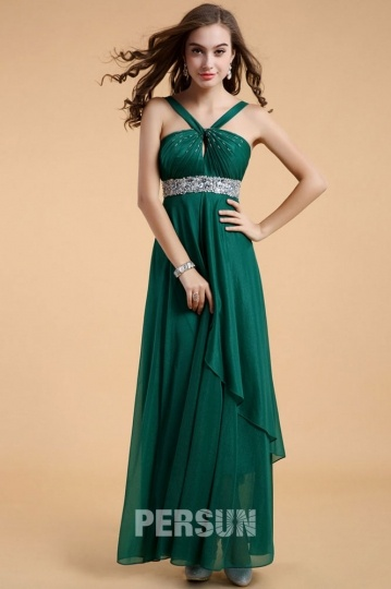 Dressesmall Chic Green Long A Line Chiffon Empire Formal Bridesmaid Dress With Straps