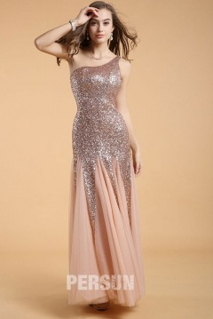 Warwick Gorgeous Sequin UK Prom Gown with One Shoulder